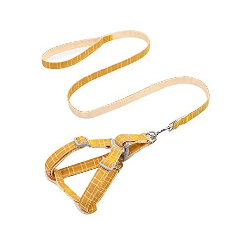 Pet Harness - Juego de collar ajustable para perros y gatos, color amarillo