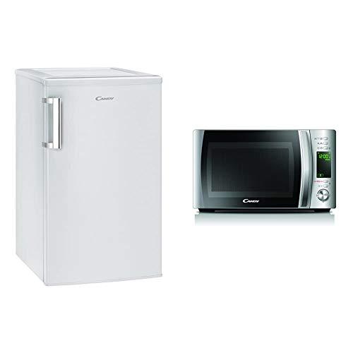 Candy Mesa Refrigerador CCTOS 502WH, 84 Litros, 40 dB, Blanco, 840x500x560 mm & Microondas CMXG20D Parrilla y Cocinado App, 20L, 40 Programas Automáticos, 700 W, Plata, 25.9 x 35.75 x 44 cm