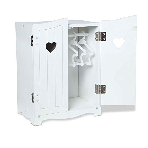 """Melissa & Doug Mine to Love Wooden Play Armoire Closet for Dolls, Stuffed Animals - White (17.3""""H x 12.4""""W x 8.5""""D Assembled)"""