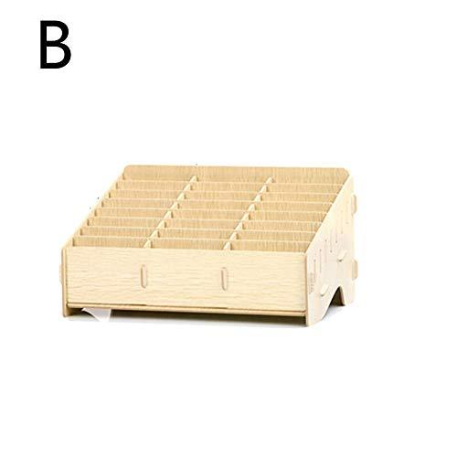 Sunnyushine Handy Box für 24,Multifunktionale Aufbewahrungsbox Aus Holz, Desktop Multi Cell Phone Rack | Handy Storage Management Box Mobile Speicher Racks | 12 Gitter / 24 Gitter / 36 Gitter