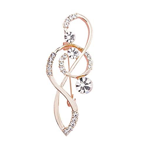 JSJJRGB brooch Women's Note Scarf Brooch Rose Gold Treble Clef Pin (Metal color : Rose Gold)