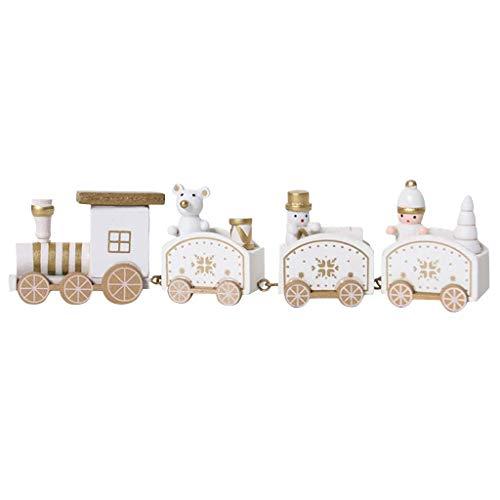 Xiongz Navidad de madera de cuatro secciones de la pista de trenes decoración de juguete para niños regalos para niños (color: blanco)