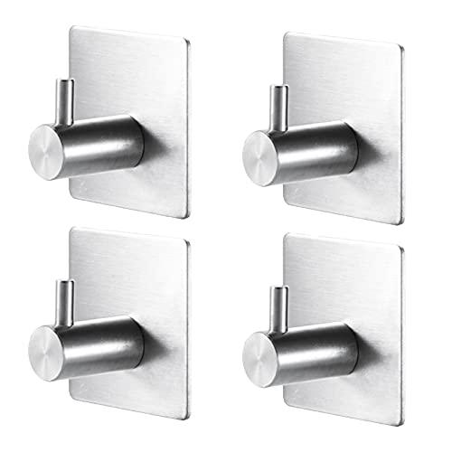 HechoVinen 4 ganchos autoadhesivos, ganchos para toallas de baño, ganchos de pared adhesivos de acero inoxidable, ganchos impermeables para puerta de pared