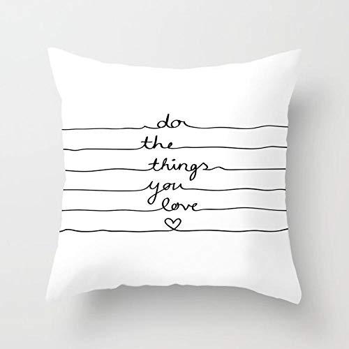 AdoDecor Cojines de pestañas patrón de Letras de Dibujos Animados Funda de Almohada Fundas de Cojines Negros para sofá de casa 45 × 45 cm con núcleo de Almohada