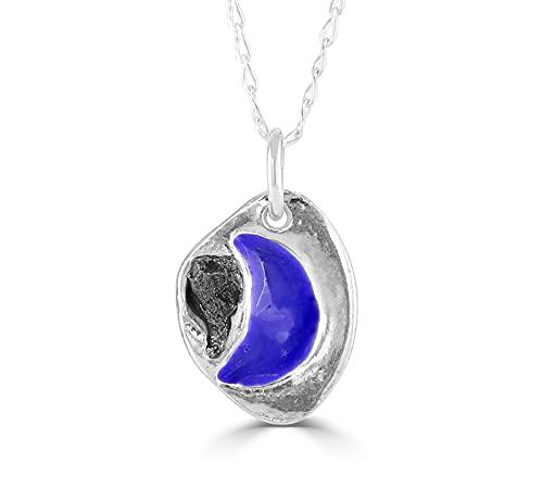 Halskette mit Meteoriten-Anhänger, emailliert, blauer Mond, mit echtem Eisenmeteorit