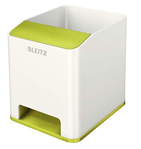 Leitz 53631064 Sound Stifteköcher (Soundverstärkungsfunktion, WOW) weiß/metallic grün