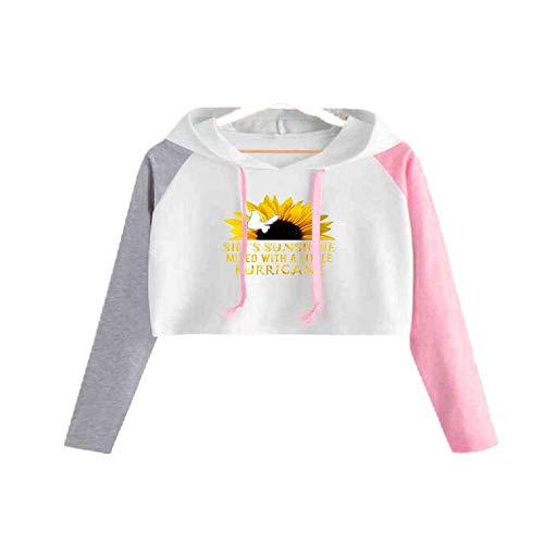 U/A - Suéter corto con capucha para mujer, color a juego, con capucha, de manga larga