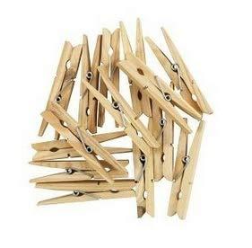 Elinker 木製ピンチクロスピン 洗濯小物ピンチ ウッドクリップ 洗濯バサミ 7.2cm 写真用に 飾り付け用 天然の木色
