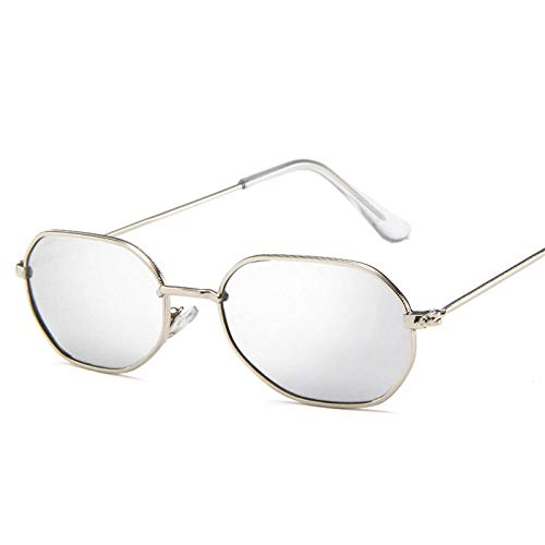 DLSM Gafas de Sol Oval Metal Mujeres Classic Vintage Vidrios para Mujeres Rosa Espejo Retro Eyewear Adecuado para Gafas de Golf Gafas de Sol-Plata Plateada