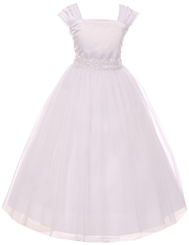 BNY Corner Flower Girl Cap Sleeved Beaded White Dress First Holy Communion Size 2-16 (14, White)