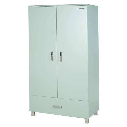 Miami türig 2 Türen mit Soft-Close und 1 Schublade mit Vollauszug, Inkle Kleiderschrank und Einlegeböden, Holz, Mint metallic, 52 x 98 x 200 cm