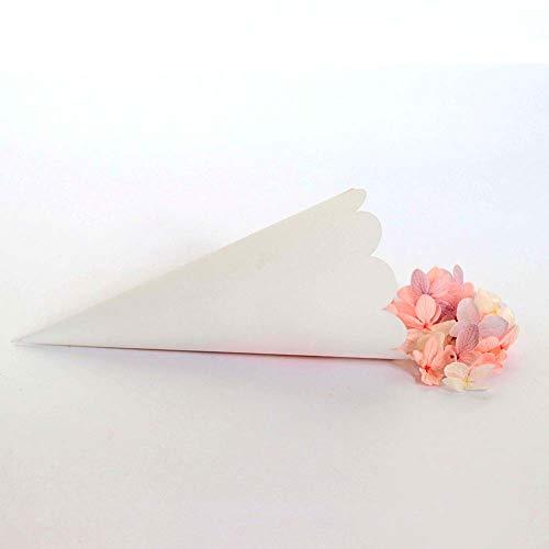Lote de 50 conos de arroz para boda, color blanco, elegantes, conos para confeti, papel nacarado con borde cortado a láser, ideales como recuerdo de boda, marcador de mesa
