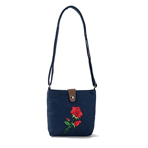 YIXIA Rose Embroidery Shoulder Bag Women's Sling Messenger Bag Thailand's Top Handmade Shoulder Bag Adjustable Shoulder Strap (Black)