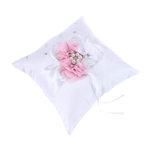 Toyvian - Cojín para alianzas de boda de satén con cojín con anillo perlado de flor para la decoración de la fiesta de boda 20 x 20 cm (azul) Rosa