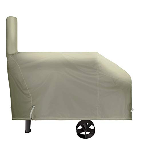 iCOVER 66 Inch 600D Heavy-Duty Water Proof Patio Outdoor Canvas Khaki Offset BBQ Barbecue Smoker Cover G22610 for Brinkmann Char-Broil Nexgrill