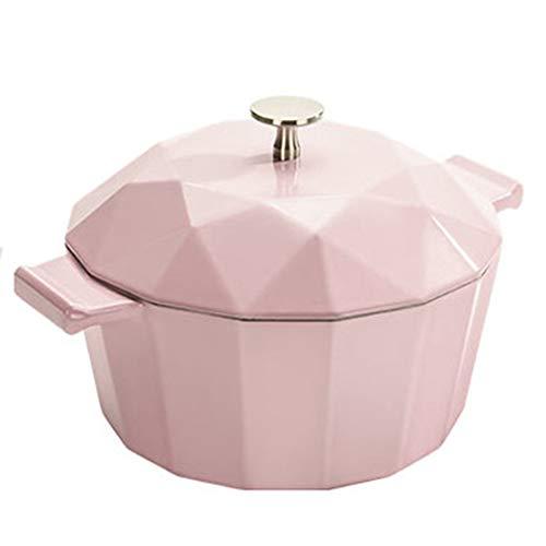 Cocotte Ronde En Fonte Avec Couvercle 22cm - Cuiseur à Rôtir Antiadhésif Pour Four Hollandais En Fonte à Induction Et Au Gaz,Pink