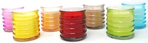 Coraz Home - Juego de 6 tarros de cristal multicolor para mezcla de verduras, cera y mecha de algodón, 18 horas de combustión, cada vela