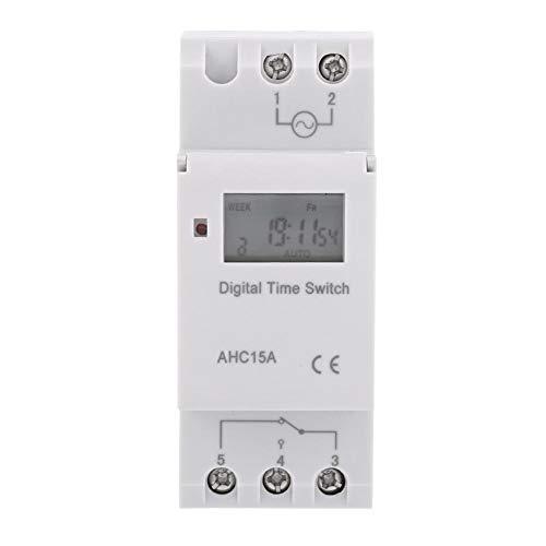 TOPINCN Programmateur Horaire Electrique Minuterie Relais Interrupteur Horaire Afficheur LCD Préréglage Hebdomadaire Programmable(220V)