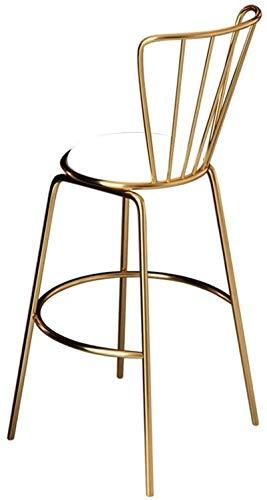 JYV Sillas de Comedor de Barstool Moderno Breakfast Counter Counter Pub Taburetones Altos - con Soporte de piernas de Oro/Metal - Cojín de Cuero de PU Suave - Cojinete de Carga 440 Lbs - Blanco