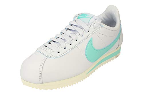 Nike Wmns Classic Cortez Leather, Zapatillas de Running Mujer, Gris (Football Grey/Lt Aqua 020), 38 EU
