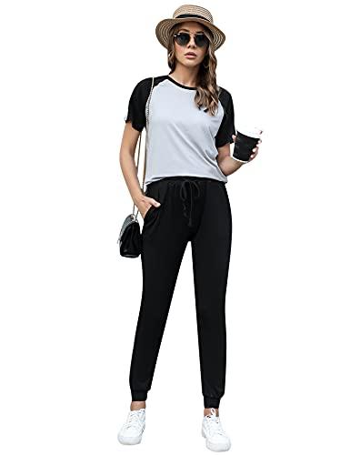 Doaraha Chándal para Mujer Verano Camiseta de Manga Corta y Pantalones Largos 2 Piezas Casual Conjuntos Deportivos Completo para Dormir,Deportes,Fitness
