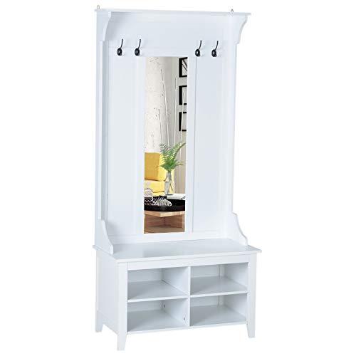 HOMCOM Garderobenständer mit Sitzbank Garderobenset Flurgaderobe 3-in-1 mit Schuhschrank Wandspiegel 4 Haken Weiß 80 x 40 x 170 cm