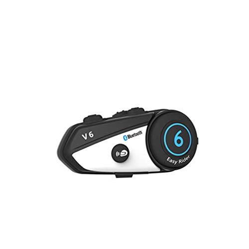 V6 BT Interphone Casco de Motocicletas Casco Intercomunicador Aumentar simultáneamente 2 Diferentes Bluetooth Transmisión de Alta fidelidad (Color : A)