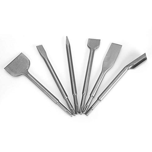 SDS Plus Juego de cinceles para taladro percutor, 6 piezas con cincel para azulejos, cincel para gubias, cincel ancho de 2 piezas, cincel plano, cincel de punta - Martillo perforador Juego de brocas S