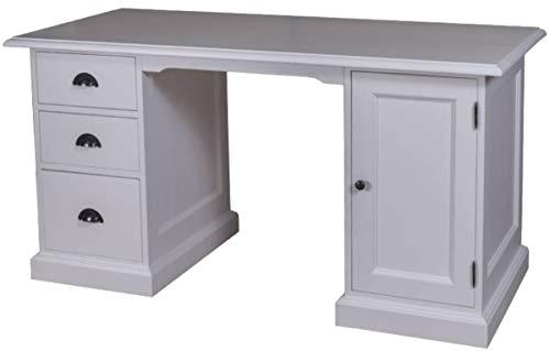 Casa Padrino Landhausstil Massivholz Schreibtisch mit Tür und 3 Schubladen Grau 152 x 70 x H. 78 cm - Büromöbel im Landhausstil