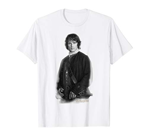 Outlander Jamie Staring Black and White Poster T-Shirt