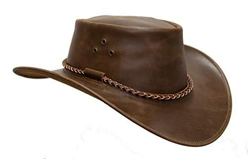 Sombrero de piel Echuca de Kakadu Traders en marrón y negro, ala curvada y cordón...