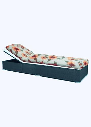 Kissen für Außenbank, 110 x 50 cm, bequemer & wasserdichter Sitz, für Bänke & Gartenschaukel, Terrasse, grau (Blumen)