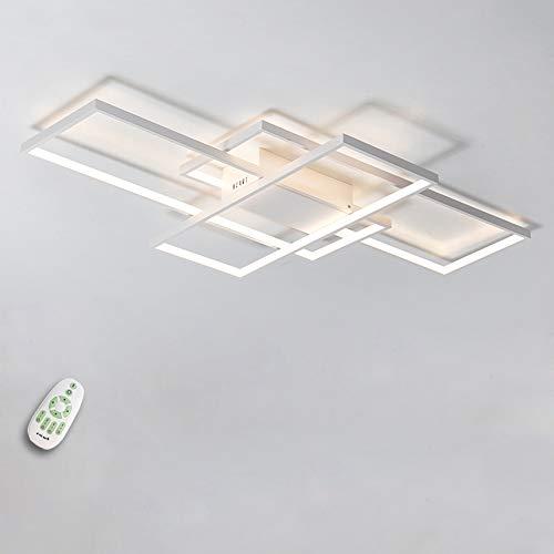 LED Deckenlampe, Deckenleuchte Wohnzimmer Modern quadratische Deckenleuchte, Dimmbar 60W mit Fernbedienung 5400lm, 140x80x9cm, Kueche Badezimmer Flur Schlafzimmer Deckenlampe weiß Metallmaterial Lampe