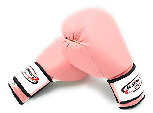 Woldorf USA Top Grade Leather Pink Boxing Gloves for Men and Women Heavy Essential Gel Boxing Punching Bag Gloves Kickboxing Sparring MMA Muay Thai Training Gloves Vinyl 10oz