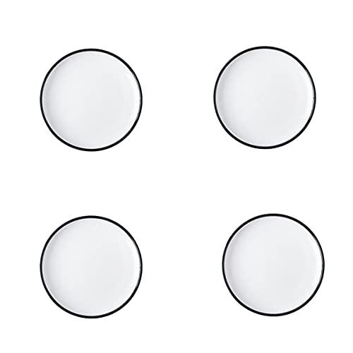 MHUI Plato Llano De Porcelana De 8 Pulgadas, Elegante Diseño Blanco con Bordes Negros, Aperitivo, Plato para Pasta Y Ensalada, Juego De 4,8inch