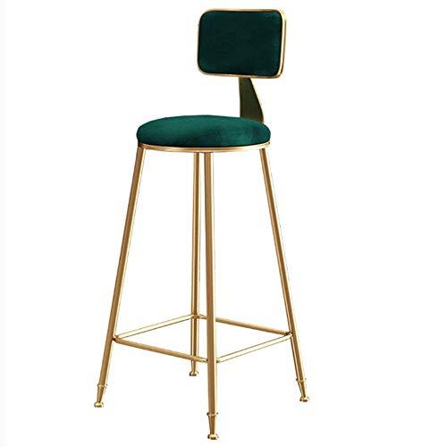 NAN Liang Tabourets de Bar de Style Moderne avec Dossier idéal pour Les espaces Bar et comptoir Pub Pieds Hauts en métal doré Charge Max 200kg - Bleu/Vert/Rose (Couleur : Green, Taille : H75cm)