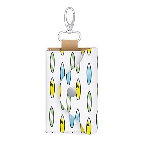 Funda de cuero verde amarillo azul tabla de surf llavero titular de la tarjeta de dinero cartera bolsa 6 llaves organizador bolsa caso