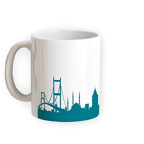Tasse Istanbul Skyline - Bürotasse Kaffeebecher Städtetasse 5 Farben - Personalisierte Geschenkidee für Istanbuler & Fans, Umzug Richtfest Architekt