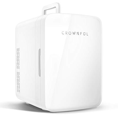 Crownful Multifunctional Mini Fridge, 10 Liter/12 Can Portable Cooler and Warmer Personal Fridge for Skin Care, Food, Medications, Plugs for Home Outlet & 12V Car Charger Included, ETL Listed (White))