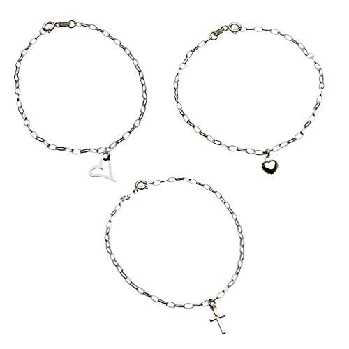 Set of 3, Sterling Silver Outline Heart, Puff Heart, Cross Charm Bracelet, Anklet Adjustable, 9.5'