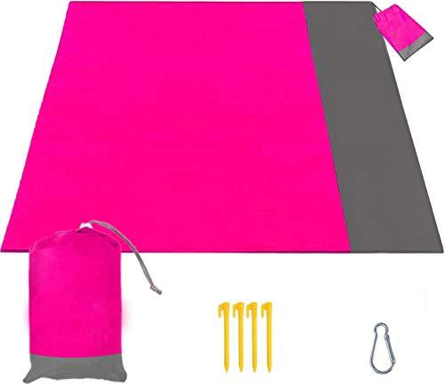 Stranddecke 210 x 200 cm, Picknickdecke Wasserdicht Sandfrei Matte mit 4 Pfosten und Tasche, Ultraleicht Kompakt Sandabweisend Strandmatte Outdoor Campingdecke für Reisen Wandern Camping (Rosa)