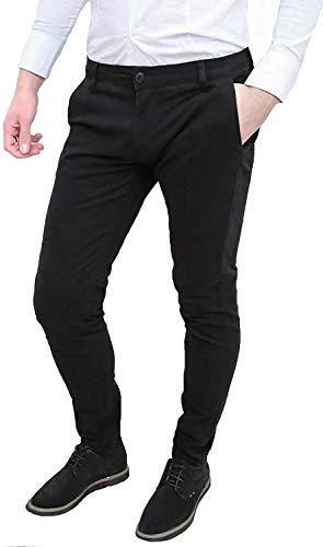 Evoga Pantaloni Uomo Class Primavera Estate Slim Fit Casual in Cotone (50, Nero)