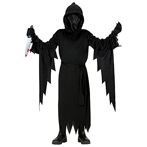 Widmann - Costume per bambini, 2 pezzi, con cappuccio e maschera, cintura, viso invisibile, grim Reaper, killer, costume, travestimento, feste a tema, carnevale, Halloween