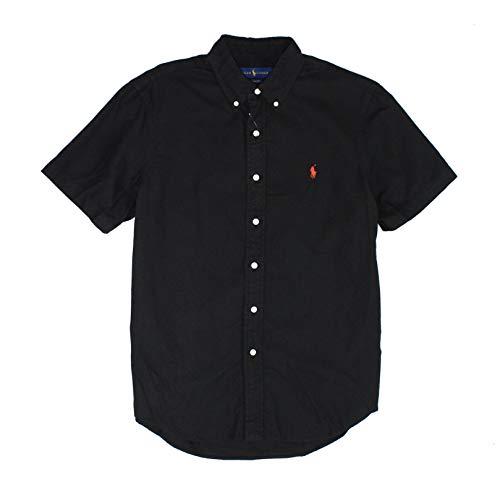 Ralph Lauren Mens Short Sleeve Oxford Shirt (M, Black)
