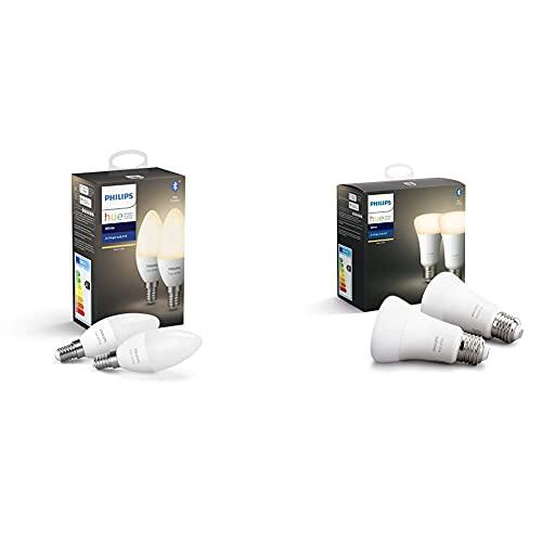 Philips Hue Pack De 2 Bombillas Inteligentes Led E14, Con Bluetooth, Luz Blanca Cálida + Pack De 2 Bombillas Led Inteligentes E27, Con Bluetooth, Luz Blanca Cálida