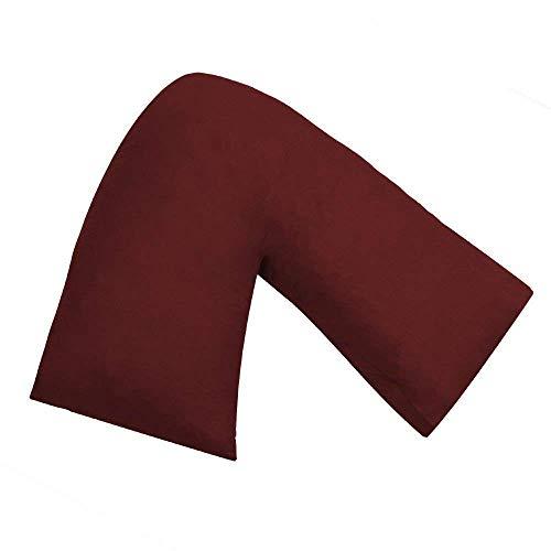 AmigoZone Plain Polycotton Back & Neck Support V Shaped Pillowcase Orthopedic/Pregnency/Nursing Pillow Case (Burgandi/Wine)