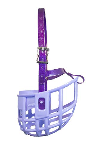 Birdwell Enterprises - Plastic Dog Muzzle with Adjustable Plastic Coated Nylon Headstall - Made in The USA - (Large, Purple)