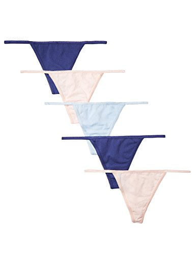 Amazon-Marke: Iris & Lilly Damen G-String mit Spitze, 5er-Pack, Mehrfarbig (Twilight Blue/Pearl/Cashmere Blue), L, Label: L