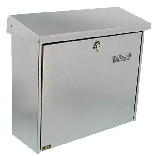 BURG-WÄCHTER Briefkasten ohne Zeitungsfach mit Namensschild, Verzinkter Stahl, Einwurf-Format DIN C4, Inkl. 2 Schlüssel, Comfort 913 SI, Silber