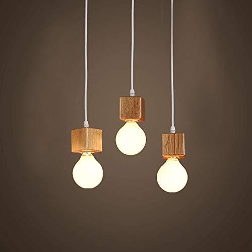 Uonlytech E27 Vintage Lampadario in legno Lampada a sospensione a sospensione per sala da pranzo Cucina Camera da letto - Triple Head Warm White Light